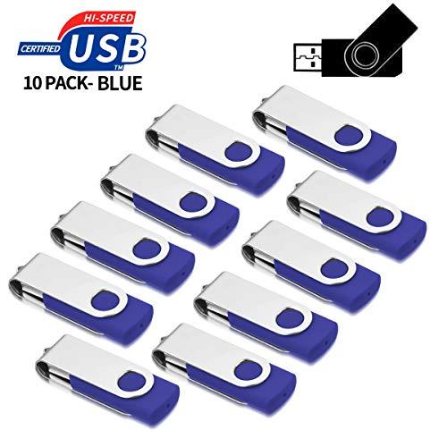 USB Sticks 1GB 10 Stück, AreTop High Speed USB 2.0 Metall Speicherstick Rotate Flash Drive Pack (Blau)