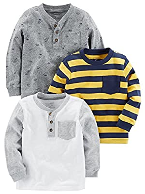 Simple Joys by Carter's Baby Boys' Toddler 3-Pack Long Sleeve Shirt, Yellow Stripe, Gray, White, 2T from Carter's Simple Joys - Private Label