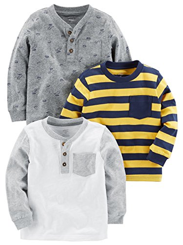 Simple Joys by Carter's Baby Boys' Toddler 3-Pack Long Sleeve Shirt, Yellow Stripe, Gray, White, 4T