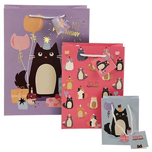 Geschenktaschen 3er Set Katzen Happy Purrthday in 3 Größen