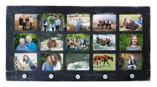 Multi Picture Collage 15 Opening 5X7 Frame Window Pane Style Reclaimed Barn Wood with Decorative Knobs Multiple Pictures Framed Multiframe Large Farmhouse Decor Living Room Rustic Country Distressed