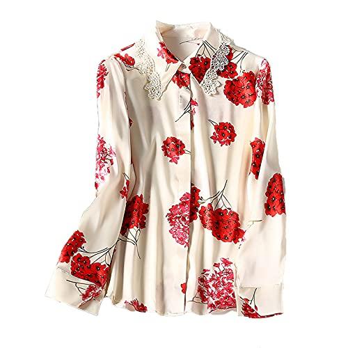 shirts Asaken Mujeres Manga Larga Top Femenino Floral 100% Seda Blusa Mujeres Elegante Primavera Otoño 2021 Blusas Mujer