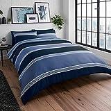 Sleepdown - Set di biancheria da letto con federe, reversibile, a righe, morbido, facile da pulire, 200 x 200 cm, colore: Blu navy