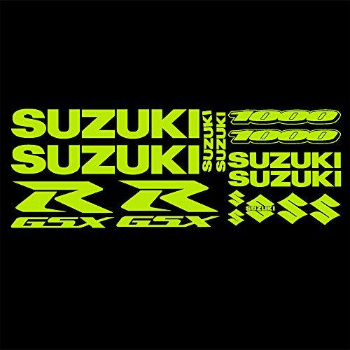 Suzuki GSXR 1000 Fluorescente Amarillo Pegatinas Gráficos X 10 piezas