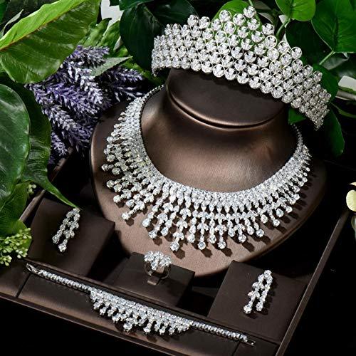 SLFDXDP Conjuntos de Joyas Beauty Wedding Jewelry Conjuntos Sparkling CZ Accesorios DE Pelo Nombres DE Pana DE LA Hoja DE LA Hoja DE LA Hoja DE LA Hojas (Color : White Color)