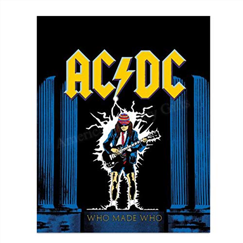 AC DC Band Music PosterWho Made Who- 8 x 10 Wall Print- Ready To Frame- Famous Rock Band Song Poster. Home Decor-Studio-Bar- Dorm-Man Cave Decor. Perfect Gift For All AC/DC Fans.