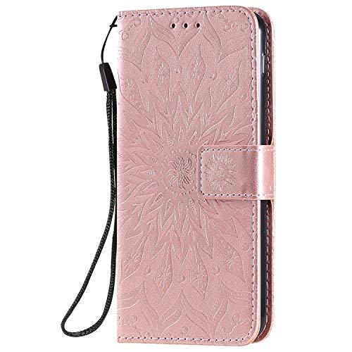 KKEIKO Hülle für LG G8S ThinQ, PU Leder Brieftasche Schutzhülle Klapphülle, Sun Blumen Design Stoßfest Handyhülle für LG G8S ThinQ - Roségold