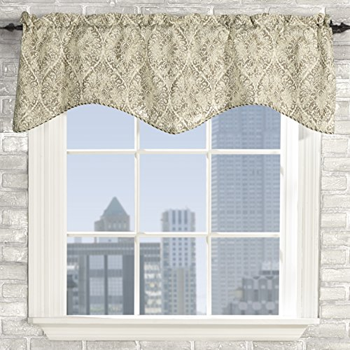 Stylemaster Home Products Twill and Birch Lola Lined Scalloped Valance with Cording, 52 by 17-Inch, Stone