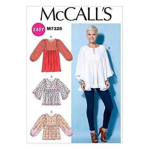 McCall's Damen-Schnittmuster 7325, geraffte Blusen, Oberteile und Tuniken
