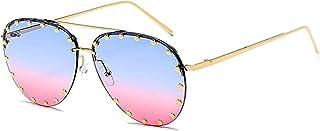 JKOWANS Women Rimless Oversized Sunglasses Colorful Lens Rivet Fashion