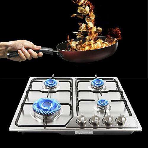 Cocina de gas de 4 fuegos, empotrable, de gas natural y propano, 580 x 520 mm