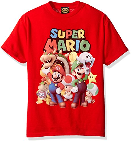 Nintendo Little Boys Super Mario Groupage Graphic T-shirt, Red, YM