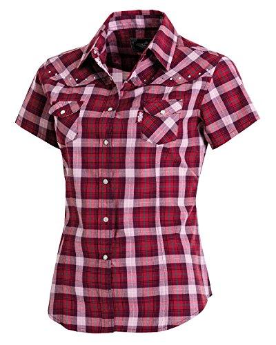 Westernwear-Shop Stars & Stripes Damen Kurzarm-Westernbluse Doreen Edition Damen Westernhemd Westernkleidung Westernshirt Westernoberteil Westernoutfit für Frauen (Large) Rot