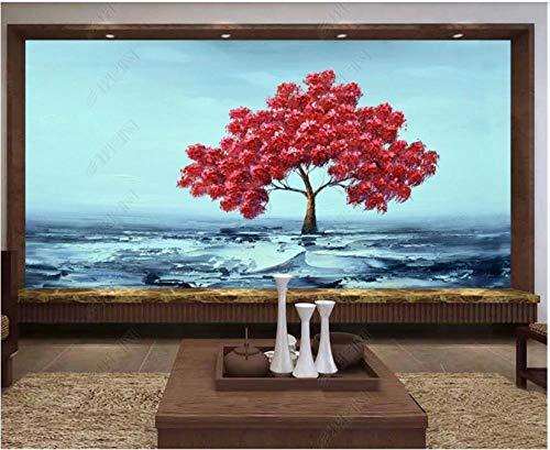 Fototapete Vliestapete 3D Red Zen Art Big Tree Wildnis Ölgemälde Fototapete 3D Effekt Tapeten Wanddeko Wandbilder Schlafzimmer 200x140cm