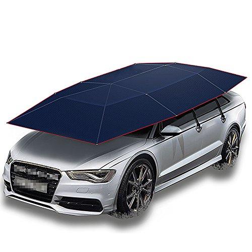 JL-Q Automatische Auto Zelt Mobile Carport Faltbare Tragbare Auto Schutz Auto Regenschirm Sonnenmarkise Abdeckung Regenschirm Dual Zweck ((Blau),Silver