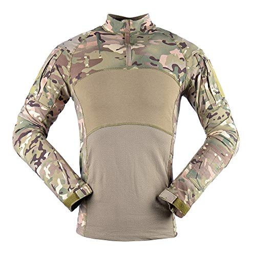 JHTT Military Style Men's Camo Combat Long Sleeve T-Shirt with Pockets Men's Slim Fit Military Tactical Long Sleeve Shirt 1/4 Front Zip Camouflage Airsoft Shirts Outdoor Combat t Shirt Plus Size S-3XL
