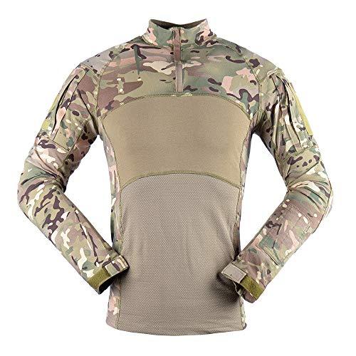 Z&Y Glaa Uomo Airsoft Tattico Militare Combattere Sottile in Forma Maglietta Lungo Manica con Cerniera Maglietta Compressione Uomo, Maglie Maniche Lunghe T Shirt Sportiva per Corsa Ciclismo Fitness