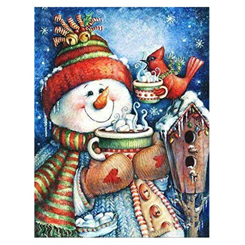 MWOOT 5D DIY Monigote de Nieve Diamond Painting Kits,Christmas 5D Diamante Pintura,Rhinestone Bordado De Punto De Cruz Artes Manualidades Decoración Pegatinas De Pared (30x40cm),Estilo C