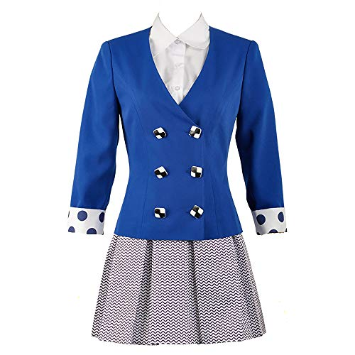 Cos-Love Heathers The Musical Rock Musical Veronica Sawyer Stage School Uniform Dress Women Dress Up Outfit Full Set Blue