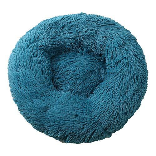 Cama de perro cómoda para mascotas con forma de donut redonda para perros y gatos, ultra suave, lavable, cojín para perros y gatos, sofá cálido de invierno (color: P, tamaño: L: 60 cm)
