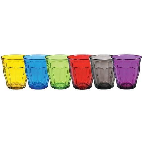 Duralex Picardie couleur Lunettes Tumbler Eau - 250ml - Multicolore - Lot de 6