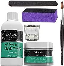 Karlash Professional Acrylic Nail Kit System BASIC KIT (No MMA Liquid Monomer 4 oz, Clear Acrylic Powder 2oz, liquid dampen dish, Kolinsky Acrylic Nail Brush, Zebra Nail File, Nail Buffer