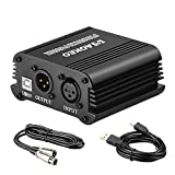 Aokeo 48V Phantom Power Supply Powered by USB Plug in, Included with 8 feet USB Cable, Bonus + XLR 3 Pin Microphone Cable for Any Condenser Microphone Music Recording Equipment …
