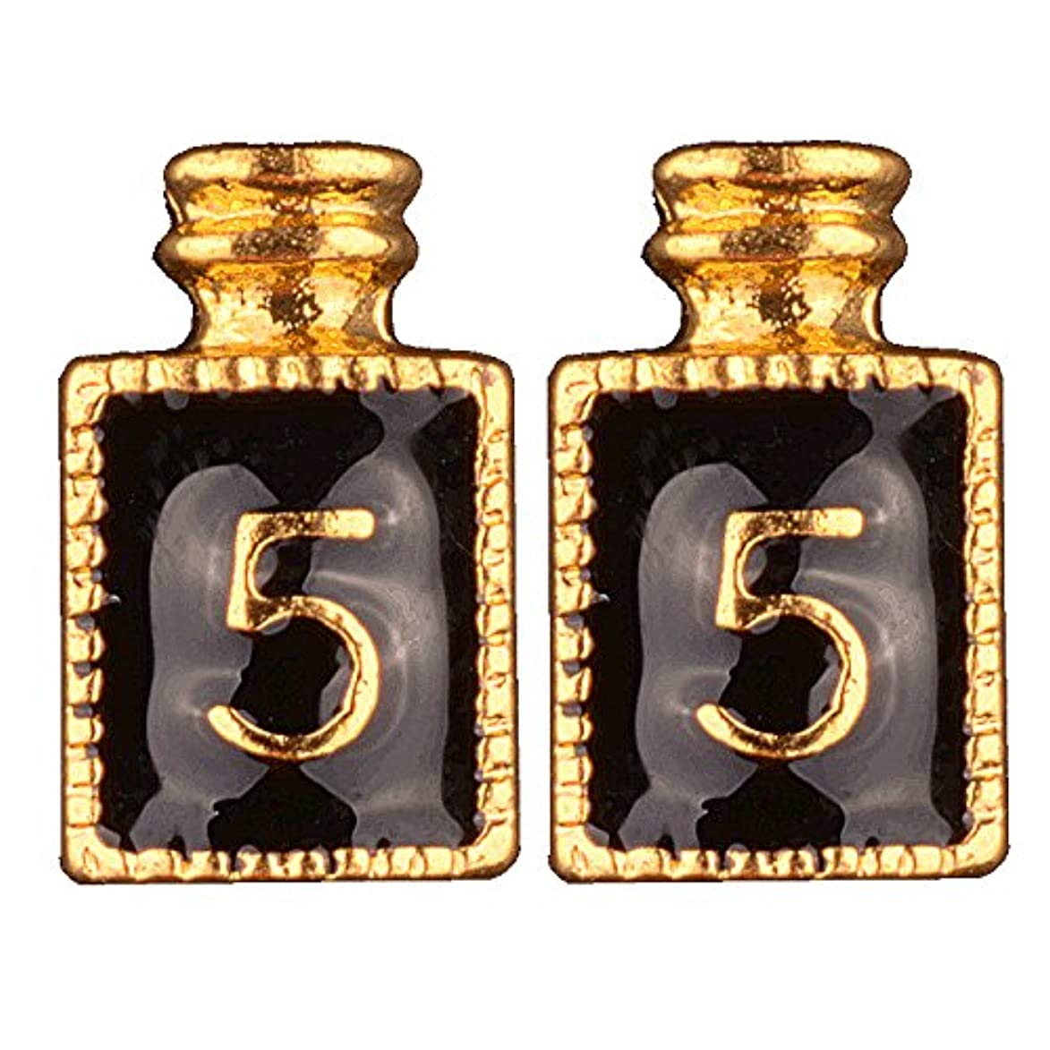 コールド悲惨目指す[AQUA NAIL] ネイルジュエリー コロン 香水 パーツ 2個入り (3.gold(黒2個入り))