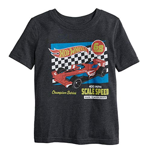 Jumping Beans Little Boys' 4-12 Accelerate Hot Wheels Tee 5 Charcoal HTHR