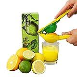 MASCHOTA® Exprimidor de limones, exprimidor manual 2 en 1, aleación de aluminio, exprimidor manual para zumo de limón, zumo de lima, apto para lavavajillas (amarillo-verde)