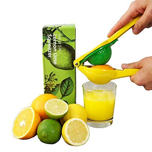 MASCHOTA® 3-in-1 Zitronenpresse, Orangenpresse & Limettenpresse - Aluminiumlegierung Zitruspresse Saftpresse manuell Juicer Orangensaftpresse in Gelb-Grün
