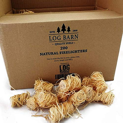 Natural Eco Wood Firelighters - Wood Wool Flame Fire Starters Great for Lighting Fires in Stoves, BBQ's, Pizza Ovens & Smokers, Safe Charcoal Starter for Lighting A Charcoal Barbecue (200pc)