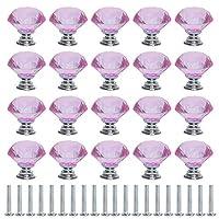 Muka クリスタル引き出しノブダイヤモンド型6色 ドレッサーキッチン食器棚用30mmガラスノブ - ピンク