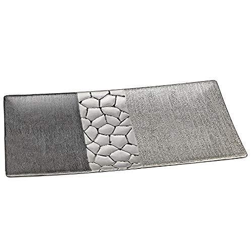 Formano Deko-Teller aus Keramik, Länge: 39 cm, Breite: 17 cm, Silber-Grau, 1 Stück
