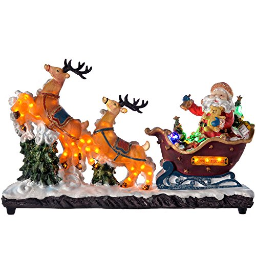 WeRChristmas Pre-Lit Christmas Santa Claus in Sleigh with Reindeer LED Lights - 46 cm, Multi-Colour