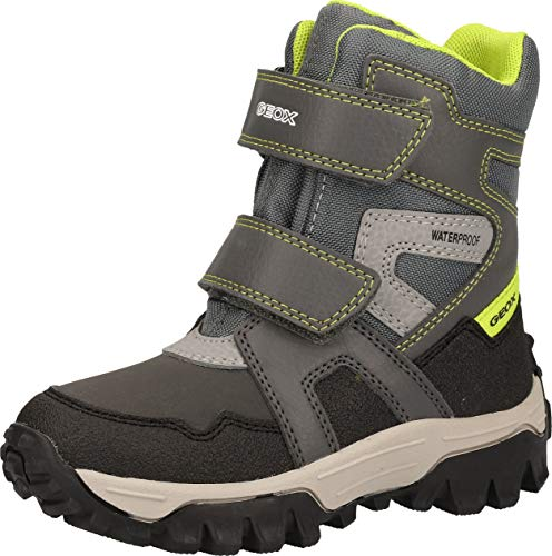Geox Jungen Boots Himalaya Boy WPF, Kinder Winterstiefel,lose Einlage,wasserdicht, Winter-Boots Outdoor-Kinderschuhe warm,Grey/Lime,37 EU / 4 UK