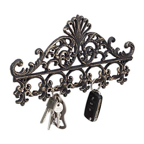 Relaxdays Garderobenleiste aus Gusseisen, 5 Haken, Antiker Landhausstil, HBT: ca. 17 x 35 x 3,5 cm, Hakenleiste, bronze