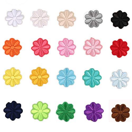 20 piezas Bordado Sparches de Flores Colores, Flores Parches de Hierro, Parches de Flores Bordados Coloridos Hierro, para Chaquetas Bolsas Sombrero Jeans Apliques