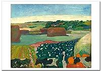 世界の名画 ゴーギャンHaystacks in Brittany ジークレー技法 高級ポスター (A2/420ミリ×594ミリ)