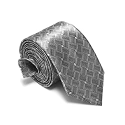 Loviena Gypsy Grey Checkered Mens Tie