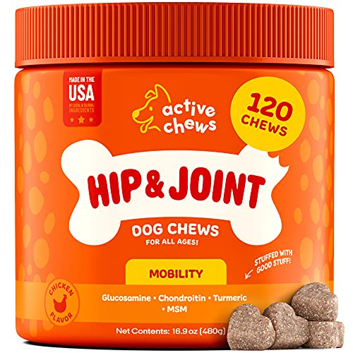 Active Chews Glucosamine for Dogs Hip and Joint Supplement | Dog Joint Supplement with Chondroitin, MSM & Turmeric |Soft…
