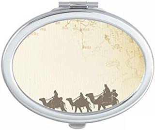 Camel Chinese Painting Silk Road map Mirror Portable Fold Hand Makeup Double Side Glasses