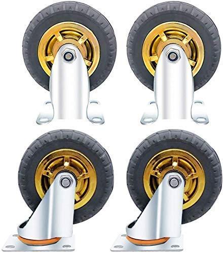 MTHW Ideal para usar 4 ruedas giratorias, ruedas giratorias de goma resistentes para muebles, mesas, carretillas, camas, banco de trabajo (gris), ruedas profesionales de 12,7 cm