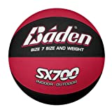 Baden Men's SX Range Composite Rubber Basketball, Indoor and Outdoor Ball, Red and Black, Size 7