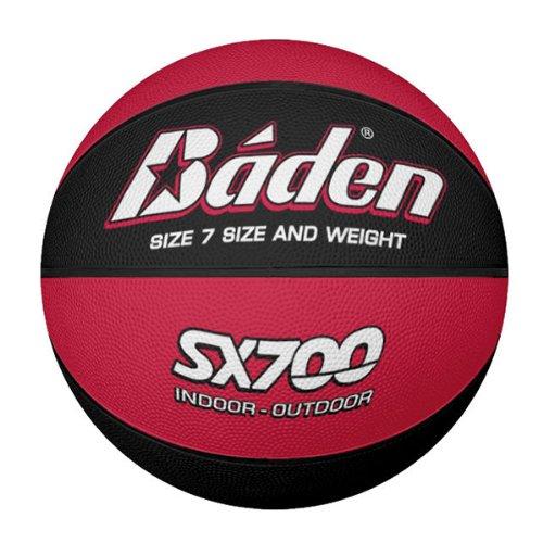 Baden Balón de Baloncesto de Caucho Compuesto para Hombre, para Interiores y Exteriores, Color Rojo y Negro, Talla 7