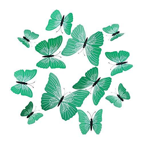 SPFOZ Haus Dekoration 12st PVC 3D Schmetterling Wanddekor Nette Schmetterlinge Wandaufkleber Kunst-Abziehbilder steuern Dekoration Raumwandkunst (Color : Green 3)