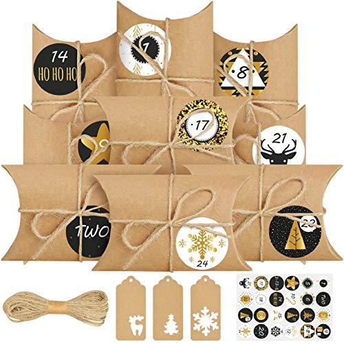 heekpek 24 Adventskalender zum Befüllen Wiederverwendbar Weihnachtskalender Tüten Kraftpapier Vintage Geschenkboxen Geschenkschachtel mit 24 Etikett 20M Hanfseil und 24 Zahl-Aufkleber