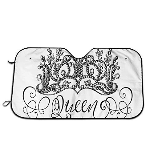 Amanda Horatio Parasol para parabrisas para coche, corona dibujada a mano con letras reina, estilo b