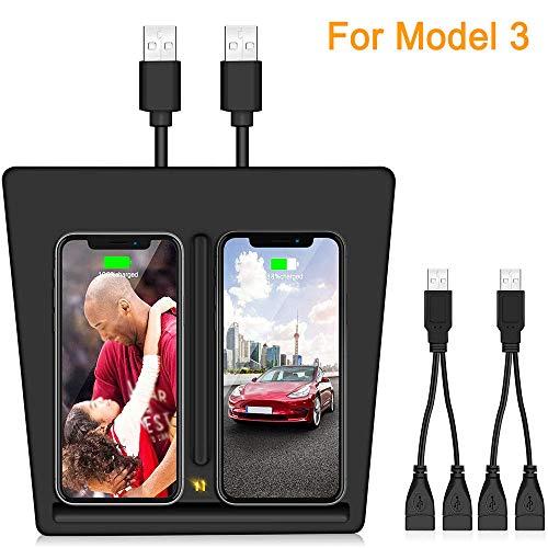 HEWXWX 10W Wireless LadegeräT FüR Tesla Model 3, Dual QI Wireless Dual Phones Ladekissen Mit Zwei USB Splitter AutozubehöR FüR Alle Qi FäHigen Telefone