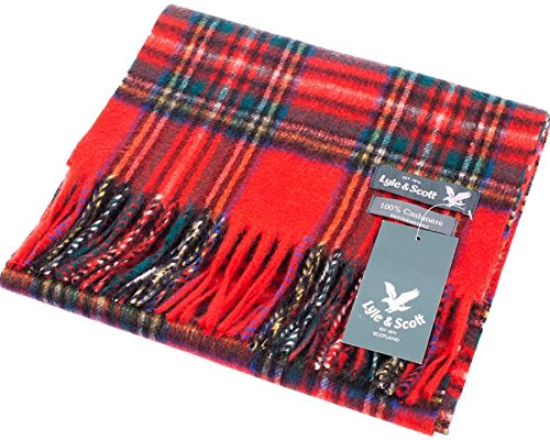 Lyle & Scott Unisex Cashmere Scarf In Stewart Royal Tartan Design 25.5 cm Wide